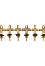 "MANIFOLD 6 WAY BRASS 5/16"" BARBS"