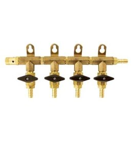 "BREWMASTER MANIFOLD 4- WAY BRASS 5/16"" BARB"