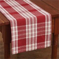 Chemin de table carrelé rouge/blanc 13x54''