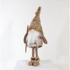 """Gnome avec skis brun 20"""""""