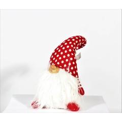 gnome tuque rouge pois blanc 22