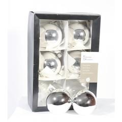 Boules argent/brillant - 8cm (boite de 6)