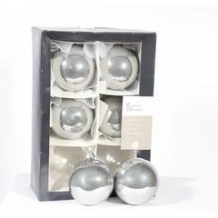 Boules gris/brillant - 8cm (boite de 6)