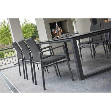 Life Outdoor Living Sense - Chaise à diner - Lava carbon