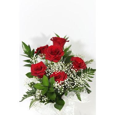 Bouquet de 6 roses et son vase AR-04