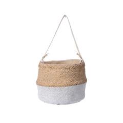 """Cache pot - ciment naturel/blanc 7,8"""""""