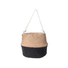 Cache pot - ciment naturel/noir 7,8""