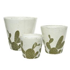 """Cache pot terre cuite - cactus (grand) 7,5"""""""