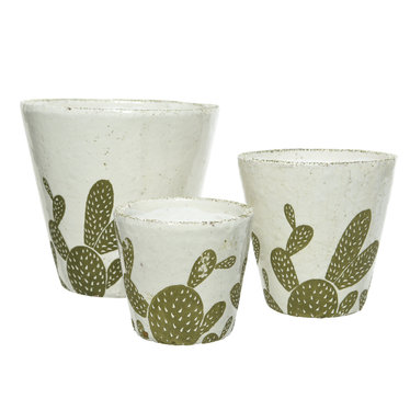"Kaemingk Cache pot terre cuite - cactus (moyen) 5,3"""