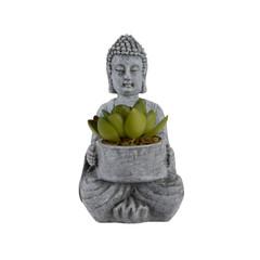 """Bouddha en bois pot plante - gris 5,5"""""""