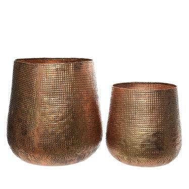 """Cache-pot fer - finition cuivre (petit) 12,5"""""""