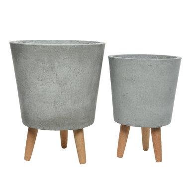 """Cache pot fibre argile - gris clair (petit) 10"""""""