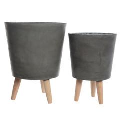 """Cache pot fibre argile - gris foncé (grand) 12,5"""""""