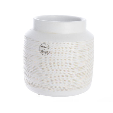 """Vase terre cuite fait main - blanc 6,5"""""""