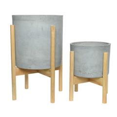 """Cache pot argile - gris clair (grand) 12"""""""