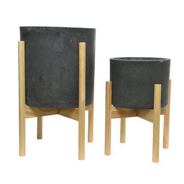"""Cache pot argile - gris foncé (petit) 9,5"""""""