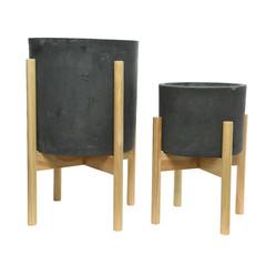 """Cache pot argile - gris foncé (grand) 12"""""""