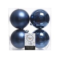 """Signé Garneau Boules plastique uni brillant & mat bleu 3,9"""" (paquet de 4)"""