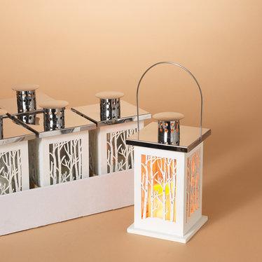 """Signé Garneau Lanterne bois blanc lumière intégrée  avec timer 9"""""""