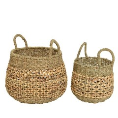 Panier jacinthe et algue anses naturel grand 15""