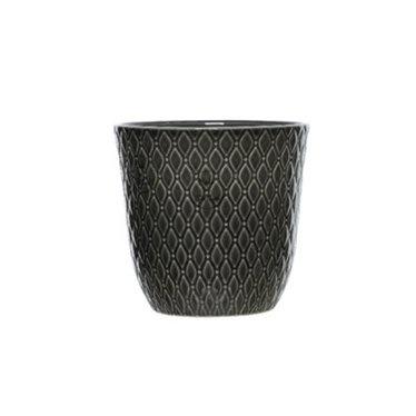 """Kaemingk Cache-pot céramique motif rond gris 5"""""""