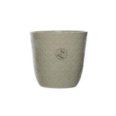 """Cache-pot céramique motif rond taupe 5"""""""