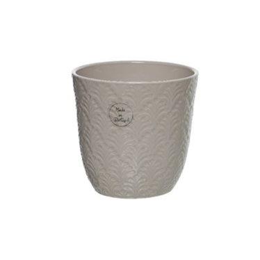 """Cache-pot céramique motif rond beige 5"""""""