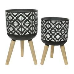"""Cache-pot fibre argile pied bois gris motif grand 21"""""""
