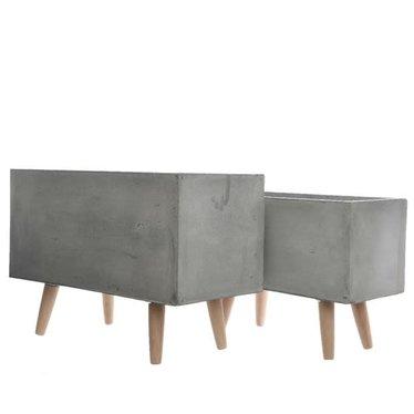 """Cache-pot fibre rectangle gris clair pied bois grand 21,5"""""""