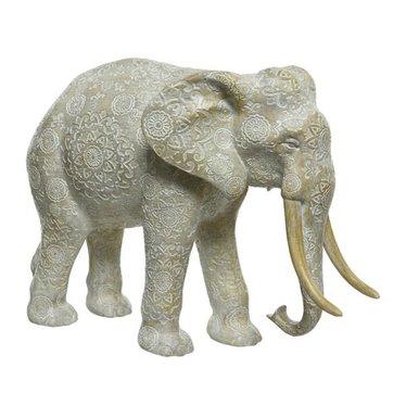 "Éléphant polyresine blanc cassé grand 14"""
