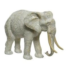 "Éléphant polyresine blanc cassé petit 10"""