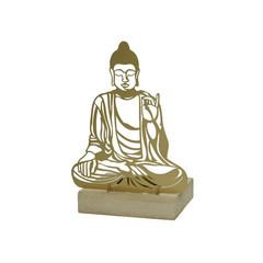 """Bouddha or sur socle bois 6"""""""