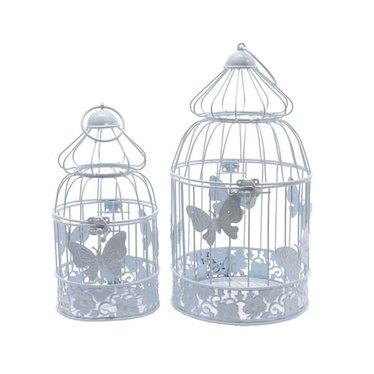 "Cage oiseau fer blanc petit 10,5"""