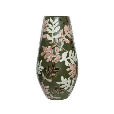 """Vase céramique feuille vert 17"""""""