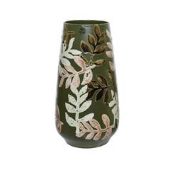 """Vase céramique feuille vert 13"""""""