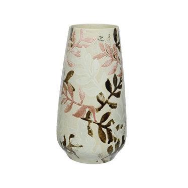 """Vase céramique feuille blanc 13"""""""