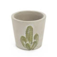 Pot de ciment cactus gris 4''