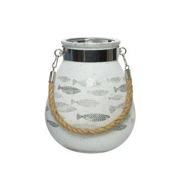 "Lanterne poisson blanche avec anse naturel 6"""