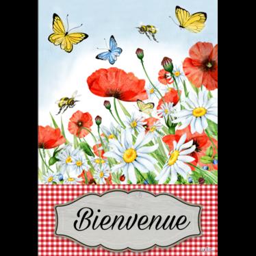 Drapeau fleurs et papillon