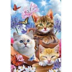Drapeau chat et pot de fleur