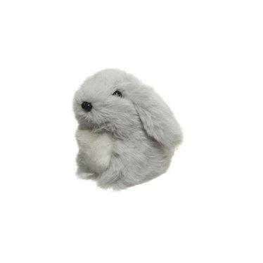 Lapin en peluche gris