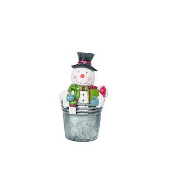Bonhomme de neige dans sceau avec cadeau