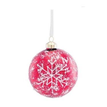 Boule de Noël rouge avec flocons