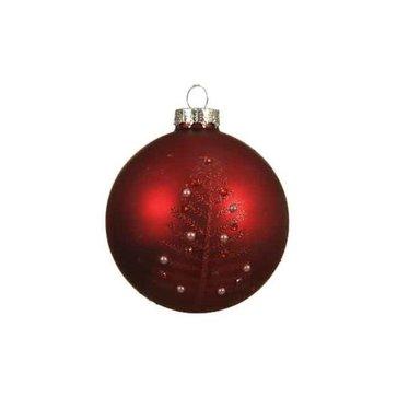 Signé Garneau Boule en verre rouge brillant avec sapin