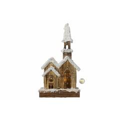Église en bois illuminée avec minuterie