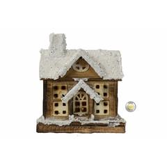 Maison bois illuminée avec minuterie