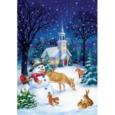 Drapeau - Église et bonhomme de neige