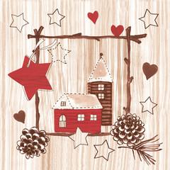 Serviettes de table carrées maison rouge