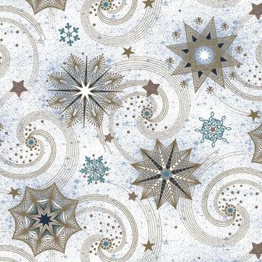 Serviettes de table carrées turquoise or étoiles