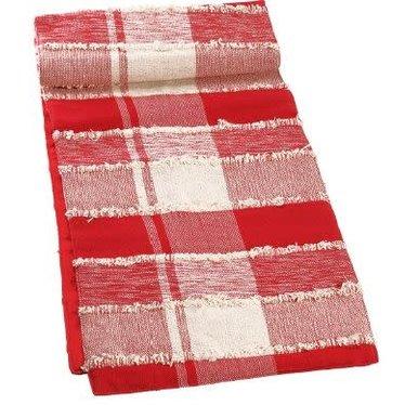 Chemin de table carreauté rouge et blanc
